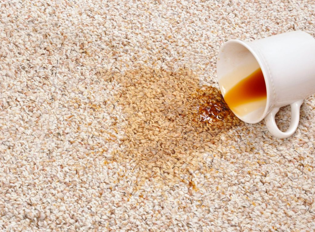 Coffee cup spilled on the carpet staining it.